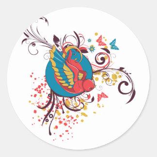 pretty bird and butterflies vector art round sticker