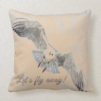 "Pretty  bird cream ""lets fly away throw pillow"" throw pillow"