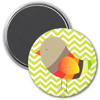 Pretty Bird on Green Chevron Stripe Pattern Magnet