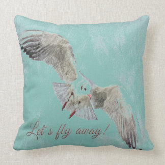 "Pretty  bird Teal ""lets fly away throw pillow"" Throw Pillow"
