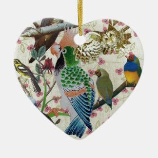 Pretty Birdies Ceramic Heart Decoration