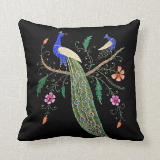 Pretty Birds And Flowers Throw Pillow
