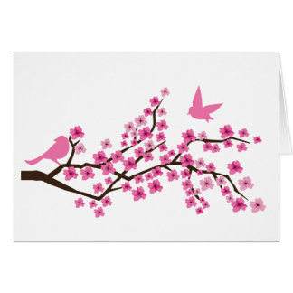 Pretty birds on cherry blossom branch card