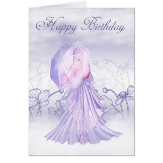 Pretty Birthday Card Floral And Cute Female