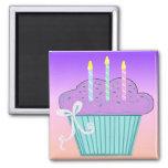 Pretty Birthday Cupcake Design Fridge Magnets
