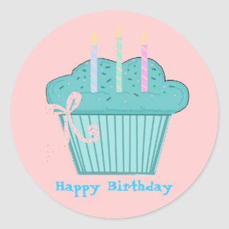 Pretty Birthday Cupcake Round Sticker