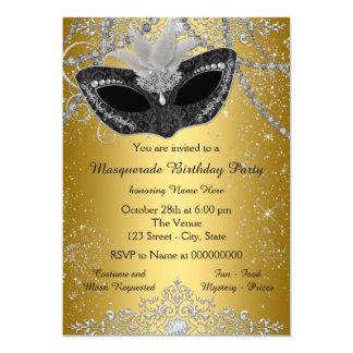 Pretty Black and Gold Masquerade Party 13 Cm X 18 Cm Invitation Card