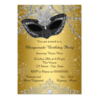 Pretty Black and Gold Masquerade Party Card