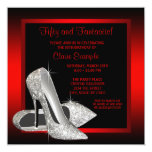 Pretty Black and Red Glitter High Heels Birthday Invitation