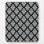 Pretty Black and White Damask Mouse Pad