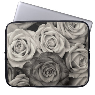 Pretty Black and White Roses Bouquet of Flowers Laptop Sleeve
