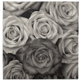 Pretty Black and White Roses Bouquet of Flowers Napkin