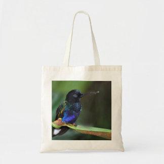 Pretty Black, Blue and Green Hummingbird Budget Tote Bag