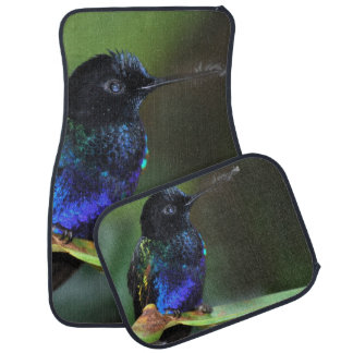 Pretty Black, Blue and Green Hummingbird Car Mat