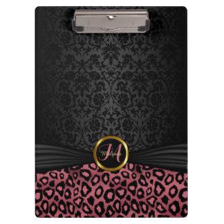 Pretty Black Damask & Dusty Rose Leopard Pattern Clipboard