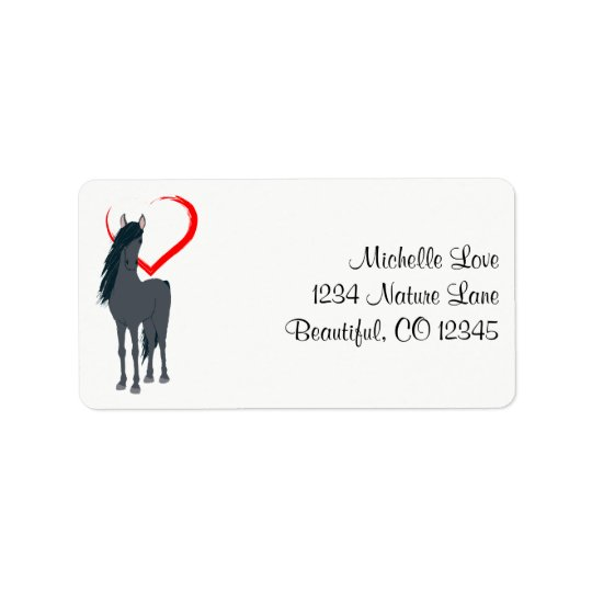 Pretty Black Horse and Red Heart Address Label