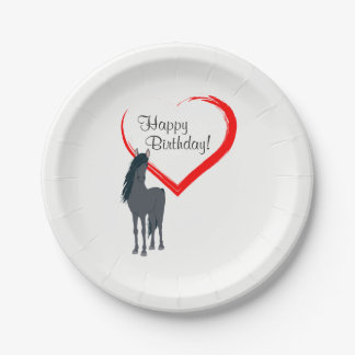 Pretty Black Horse and Red Heart Happy Birthday Paper Plate