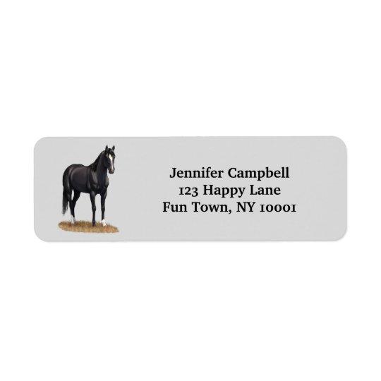 Pretty Black Quarter Horse Return Address Label
