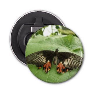Pretty Black Red and Gold Butterfly Bottle Opener