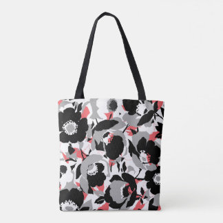 Pretty Black, White, & Coral flower pattern Tote Bag
