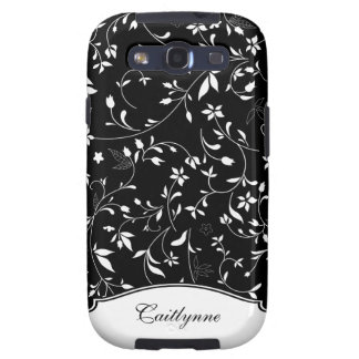 Pretty Black White Personalized Floral Patterned Samsung Galaxy SIII Cover
