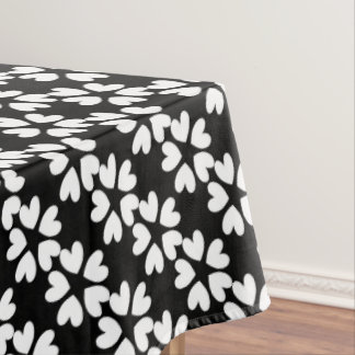 Pretty Black White Sweet Love Hearts Patterned Tablecloth