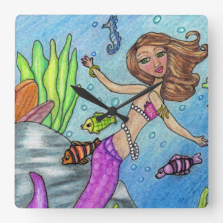 Pretty Blond Mermaid Pearls Pink Tail in Ocean Square Wall Clock