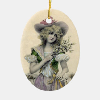 Pretty Blond Victorian Little Bo Peep Lady Sheep Christmas Ornament