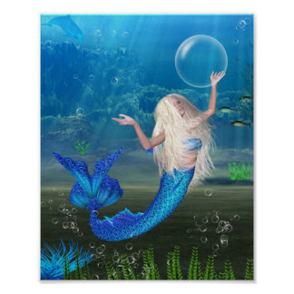 Pretty Blonde Mermaid with Bubble Poster