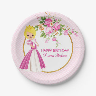 Pretty Blonde Princess Birthday Paper Plate