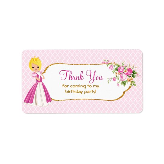 Pretty Blonde Princess Birthday Thank You Labels