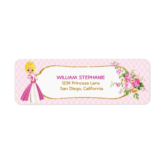 Pretty Blonde Princess Return Address Labels