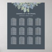 Pretty Blooms Vintage Garden Wedding Seating Chart Poster