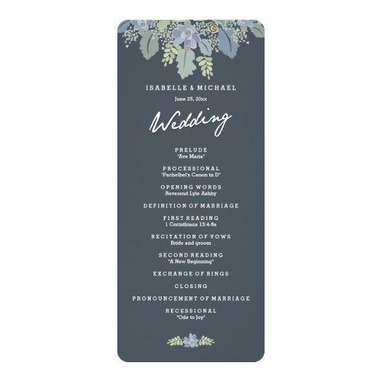 Pretty Blooms Vintage Gardens Wedding Program