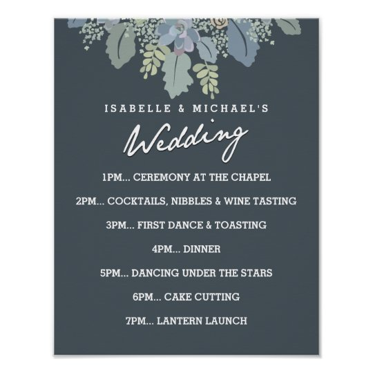 Pretty Blooms Vintage Wedding Day of Schedule Poster