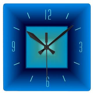 Pretty Blue and Aqua> Square Kitchen Clock
