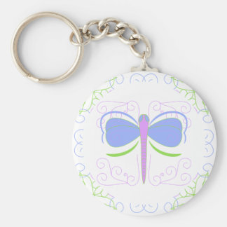 Pretty Blue And Green Dragonfly Keychain