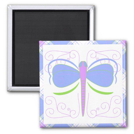 Pretty Blue And Green Dragonfly Magnet