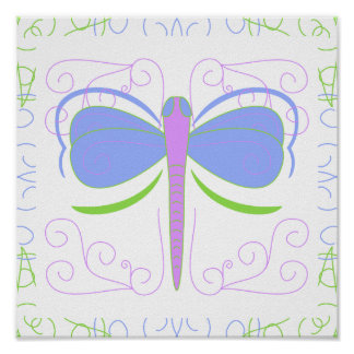 Pretty Blue And Green Dragonfly Poster
