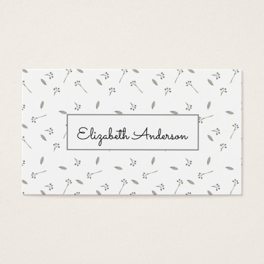 Pretty Blue and Grey Watercolor Floral Business Card