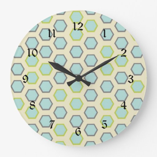 Pretty Blue and Lime Green Hexagon Tile Pattern Wall Clock