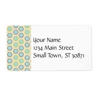 Pretty Blue and Lime Green Hexagon Tile Pattern Shipping Label