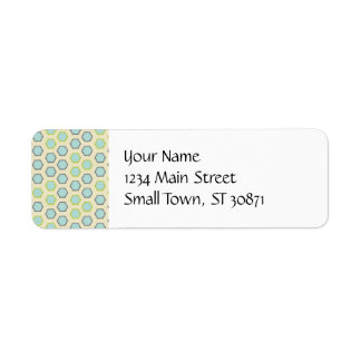 Pretty Blue and Lime Green Hexagon Tile Pattern Return Address Label