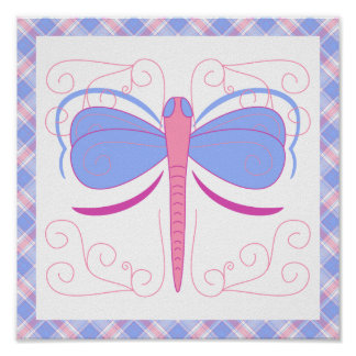 Pretty Blue And Magenta Dragonfly Poster