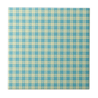 Pretty Blue and Pastel Yellow Plaid Small Square Tile