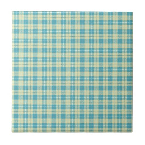 Pretty Blue and Pastel Yellow Plaid Tiles