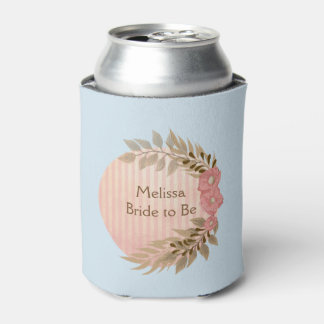 Pretty Blue and Pink Flowers Can Cooler