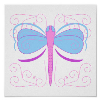 Pretty Blue And Purple Dragonfly Poster