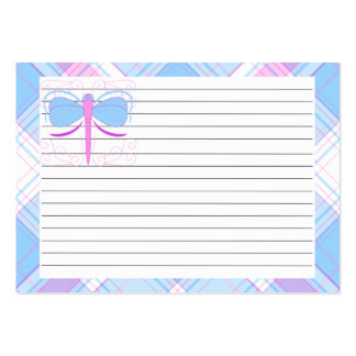 Pretty Blue And Purple Dragonfly Recipe Card Business Card Template