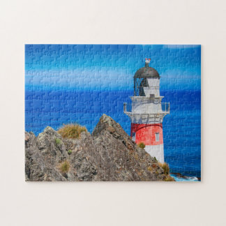 Pretty Blue and Red Lighthouse Ocean Puzzle